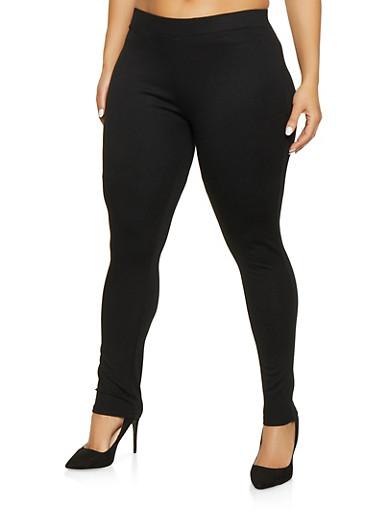 Plus Size Ponte Knit Push Up Pants,BLACK,large