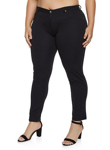Plus Size Solid Ponte Skinny Pants,BLACK,large