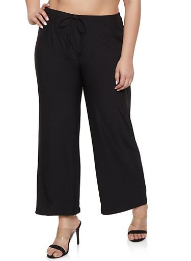 Plus Size Wide Leg Crepe Knit Pants,BLACK,large