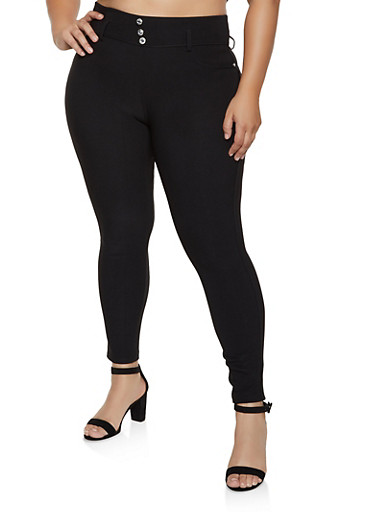 Plus Size Rhinestone Button Skinny Scuba Pants,BLACK,large