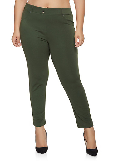Plus Size Ponte Knit Pull On Pants,OLIVE,large