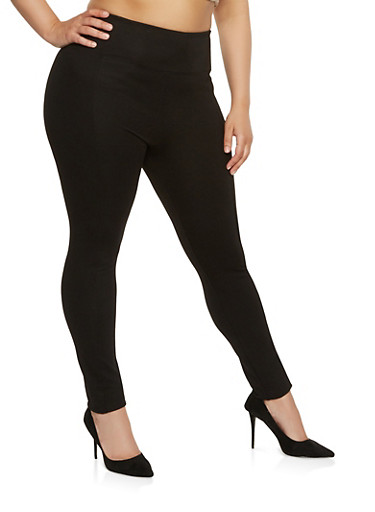 Plus Size High Waisted Ponte Pants | Tuggl
