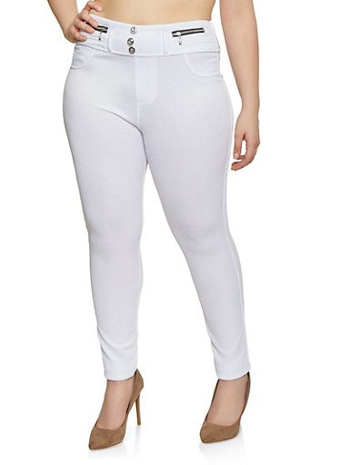 Plus Size High Waisted Zipper Detail Jeggings,WHITE,large