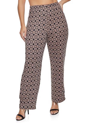 Plus Size Geometric Print Flared Pants,BLACK,large