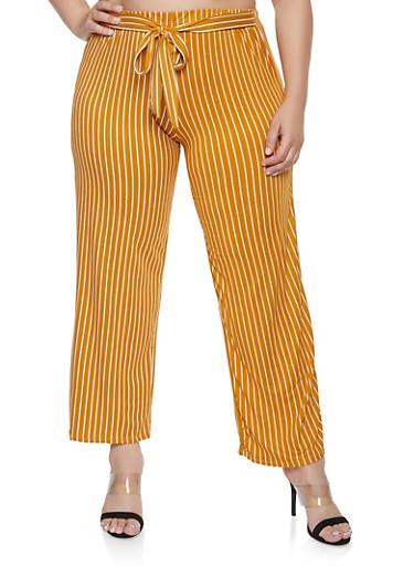 Plus Size Striped Tie Waist Pants,MUSTARD,large