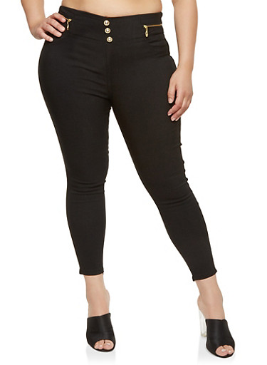 Plus Size High Waisted Dress Ankle Pants,BLACK,large