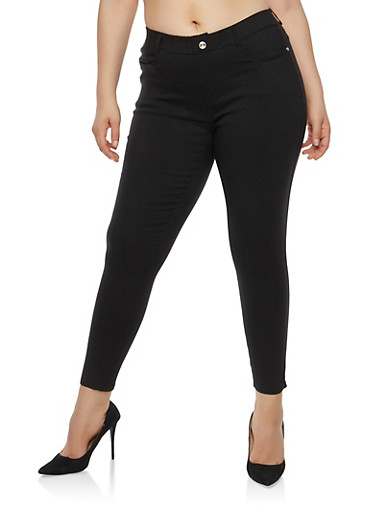 Plus Size Basic Black Jeggings,BLACK,large