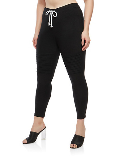 Plus Size Stretch Moto Pants | Tuggl