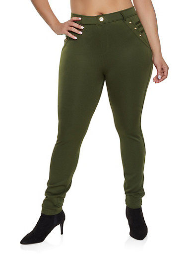 Plus Size Scuba Pull On Pants,OLIVE,large