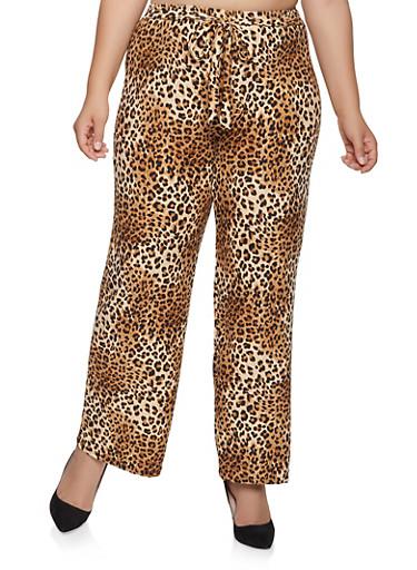 Plus Size Leopard Wide Leg Pants,BLACK,large