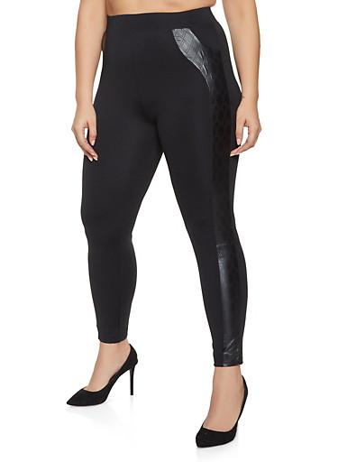 Plus Size Faux Leather Detail Leggings,BLACK,large