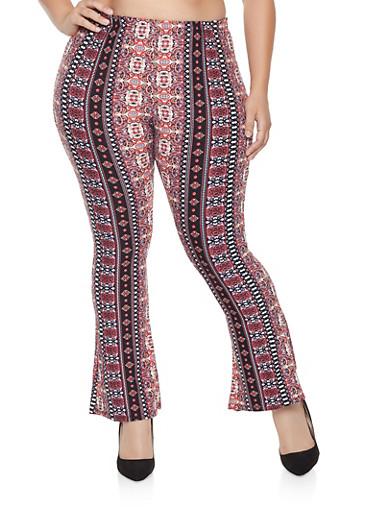 Plus Size Printed Flared Pants,MAUVE,large