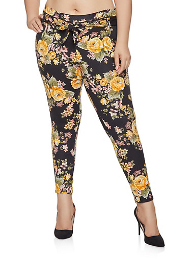 Plus Size Tie Front Pants,BLACK,large