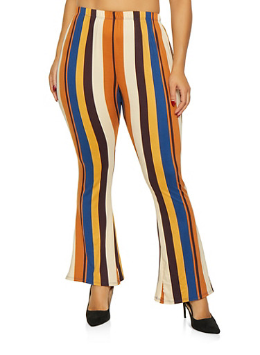 Plus Size Striped Bell Bottom Pants,NAVY,large
