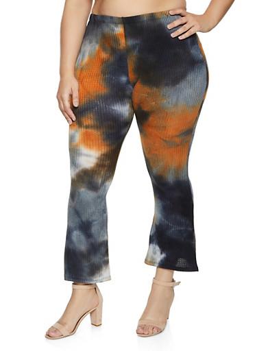 Plus Size Tie Dye Waffle Knit Flared Pants,GRAY,large