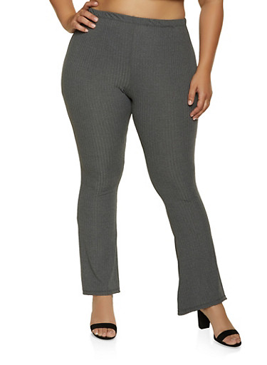 Plus Size Brushed Rib Knit Flared Pants,CHARCOAL,large