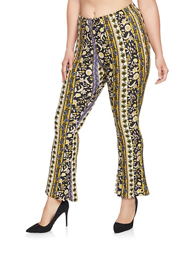 Plus Size Printed Flared Pants,NAVY,large