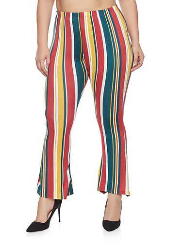 Plus Size Striped Bell Bottom Pants,HUNTER,large