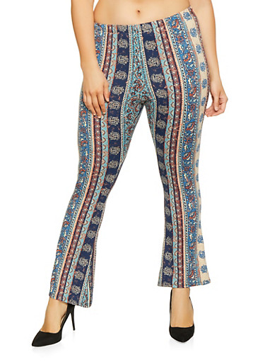Plus Size Printed Flared Pants,TEAL,large