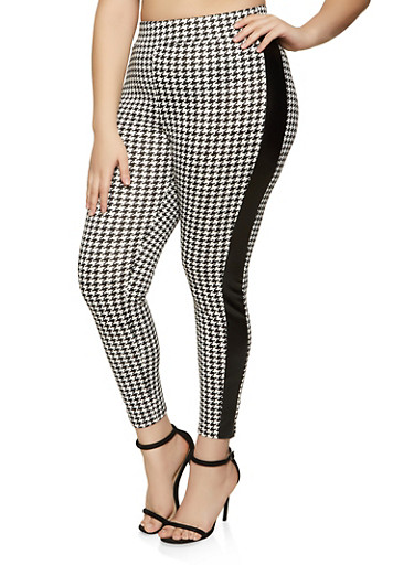 Plus Size Faux Leather Trim Houndstooth Pants,BLACK/WHITE,large