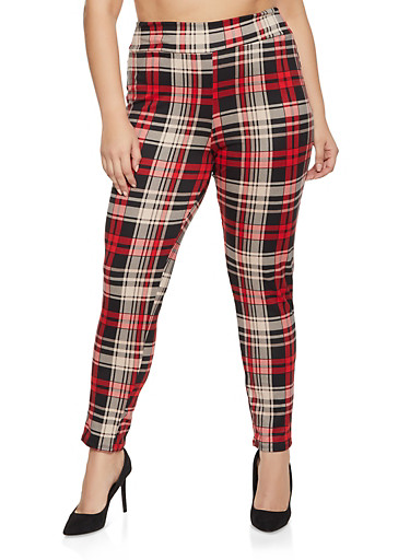 Plus Size Plaid Pull On Pants,RED,large