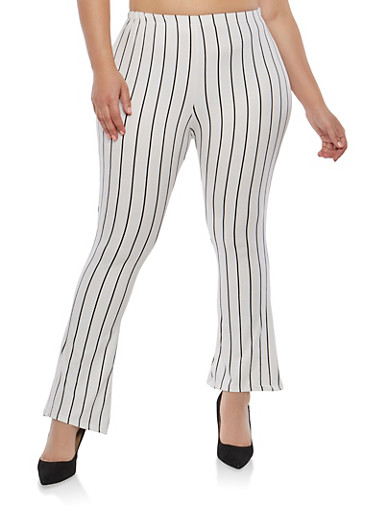 Plus Size Striped Flared Pants,WHITE-BLK,large