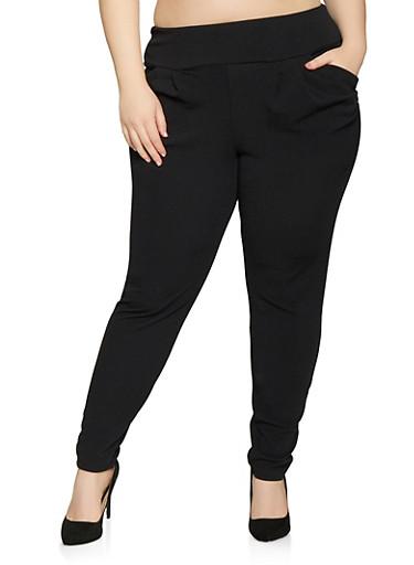 Plus Size Textured Knit Dress Pants,BLACK,large