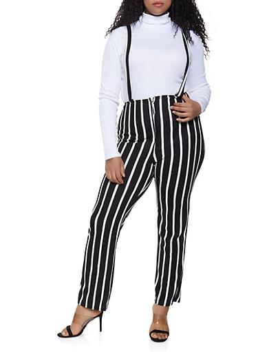 Plus Size Striped Zip Front Suspender Pants,BLACK/WHITE,large
