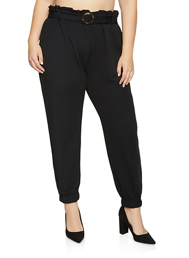 Plus Size Textured Knit Belt Detail Joggers,BLACK,large