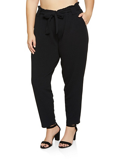 Plus Size Textured Knit Tie Front Pants,BLACK,large