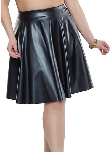 Plus Size Faux Leather Skater Skirt,BLACK,large