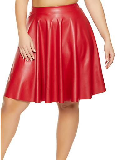 Plus Size Midi Faux Leather Skater Skirt,RED,large