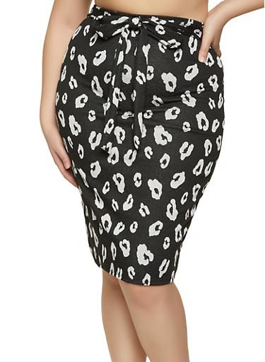 Plus Size Knit Cheetah Pencil Skirt,BLACK,large