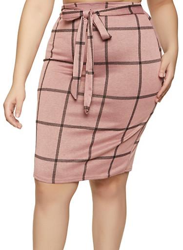 Plus Size Knit Plaid Pencil Skirt,BLACK,large