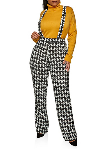 Plus Size Houndstooth Suspender Pants,BLK PTN,large