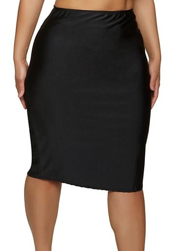 Plus Size Solid Spandex Pencil Skirt,BLACK,large