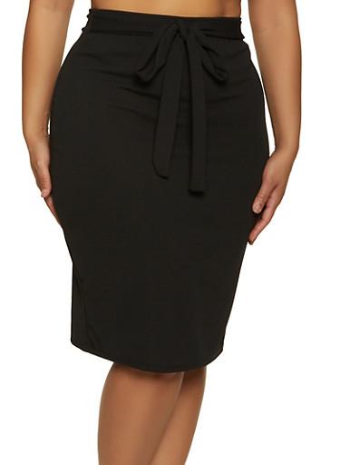 Plus Size Tie Front Pencil Skirt,BLACK,large