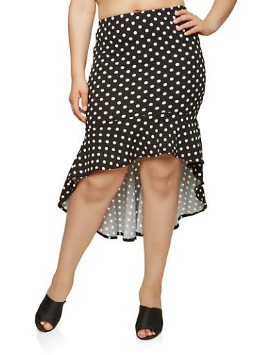 Plus Size Polka Dot High Low Skirt,BLACK/WHITE,large