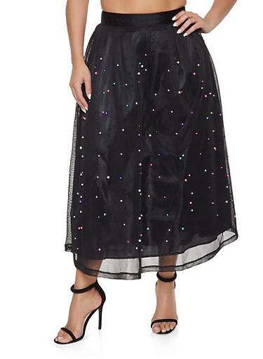 Plus Size Faux Pearl Mesh Skirt,BLACK,large