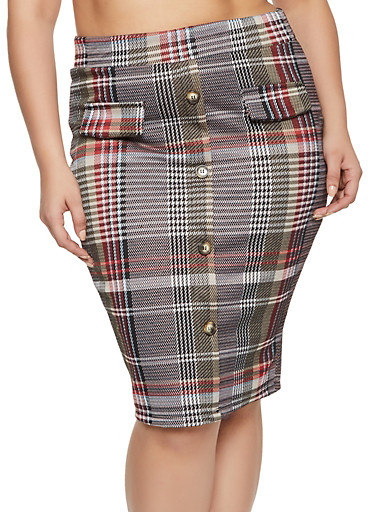 Plus Size Plaid Button Detail Skirt,RED,large