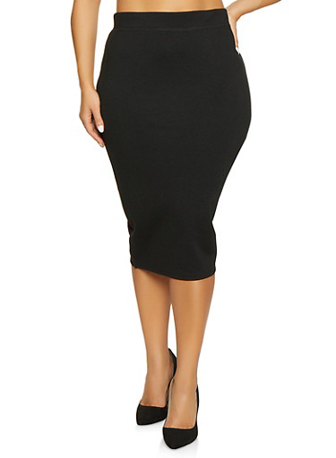 Plus Size Back Slit Pencil Skirt,BLACK,large