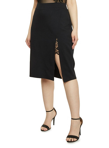 Plus Size Lace Slit Detail Pencil Skirt,BLACK,large