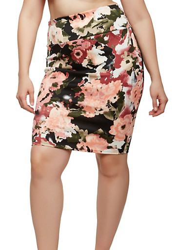 Plus Size Floral Pencil Skirt,BLACK,large