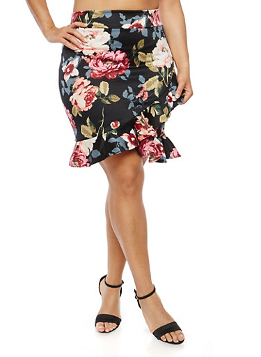 Plus Size Asymmetrical Hem Skirt,BLACK,large