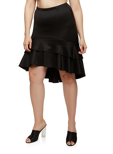 Plus Size Tiered High Low Skirt,BLACK,large