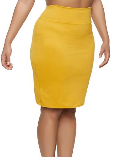 Plus Size High Waisted Ponte Skirt,MUSTARD,large