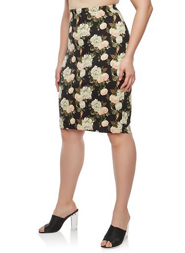 Plus Size Soft Knit Floral Skirt,BLACK,large