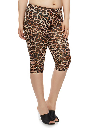 Plus Size Leopard Caged Capri Leggings,BLACK,large