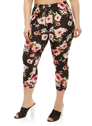 Plus Size Floral Cropped Leggings,BLACK,large
