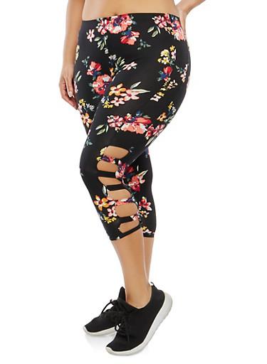 Plus Size Cropped Floral Leggings,BLACK,large